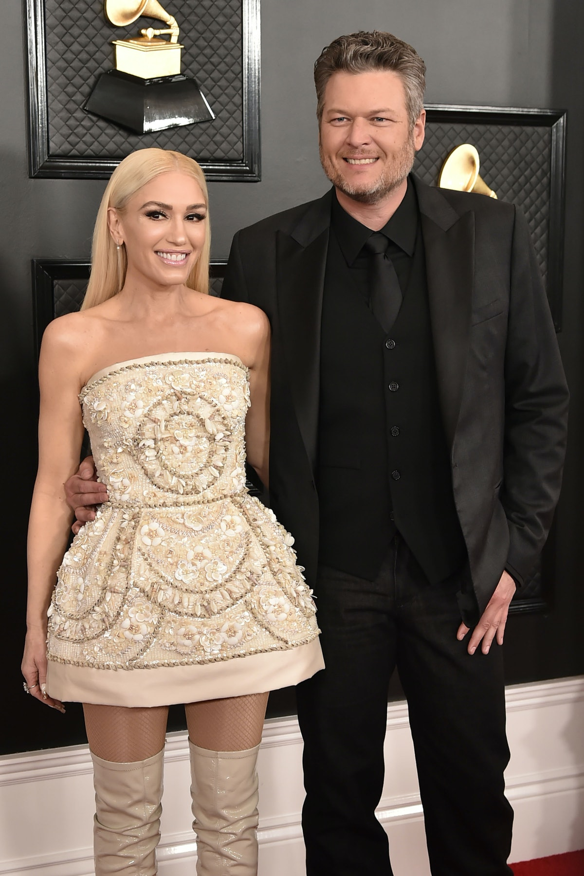 LOS ANGELES, CA - JANUARY 26: Gwen Stefani and Blake Shelton attend the 62nd Annual Grammy Awards at...