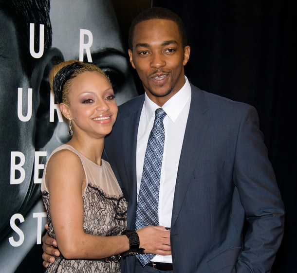 """Actor Anthony Mackie (R) and girlfriend, Sheletta Chapital attend the premiere of """"The Adjustment Bureau"""" at the Ziegfeld Theatre on February 14, 2011 in New York City. (Photo by Gilbert Carrasquillo/FilmMagic)"""