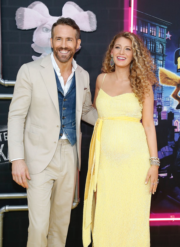 """NEW YORK, NEW YORK - MAY 02:   Ryan Reynolds and Blake Lively attend """"Pokemon Detective Pikachu"""" U.S. Premiere at Times Square on May 02, 2019 in New York City. (Photo by John Lamparski/WireImage)"""