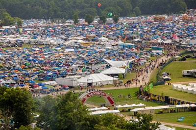MANCHESTER, TN - JUNE 13:  Aerial images of camping, crowd and grounds during the 2013 Bonnaroo Musi...