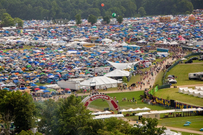 MANCHESTER, TN - JUNE 13:  Aerial images of camping, crowd and grounds during the 2013 Bonnaroo Music And Arts Festival on June 13, 2013 in Manchester, Tennessee.  (Photo by Douglas Mason/Getty Images)
