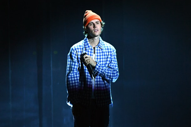 LOS ANGELES, CALIFORNIA - NOVEMBER 22: In this image released on November 22, Justin Bieber performs onstage for the 2020 American Music Awards at Microsoft Theater on November 22, 2020 in Los Angeles, California. (Photo by Kevin Mazur/AMA2020/Getty Images for dcp)