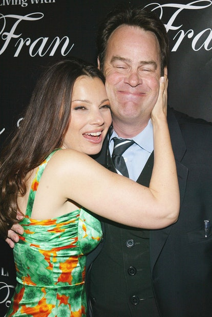 "Dan Aykroyd, Fran Drescher during Pureromance.com celebrates Fran Drescher's new series ""Living with Fran"" at Cain Lounge in New York, New York, United States. (Photo by Sylvain Gaboury/FilmMagic)"
