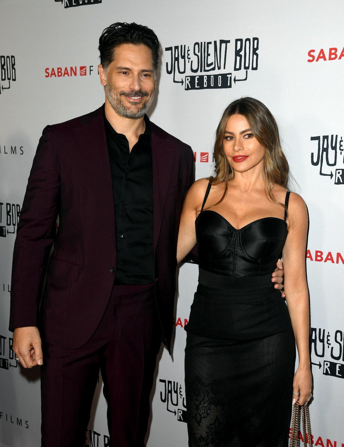 HOLLYWOOD, CALIFORNIA - OCTOBER 14: Joe Manganiello (L) and Sofia Vergara arrive at the premiere of ...