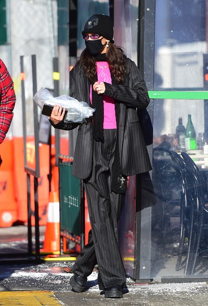 NEW YORK, NY - FEBRUARY 08:  Bella Hadid is seen in SoHo on February 8, 2021 in New York City.  (Pho...