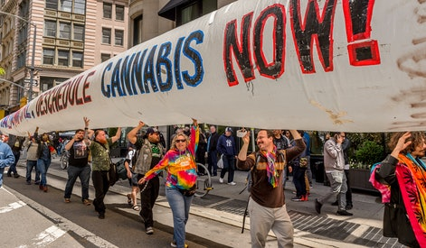 NEW YORK CITY, NEW YORK, UNITED STATES - 2017/05/06: The NYC Cannabis Parade happening on Saturday, May 6, 2017; is a four-decade old original New York City tradition, part of the city's classic heritage of cutting-edge progressive movements and protest advocacy. The Global Marijuana March (GMM) was born in New York City as the first annual pro-cannabis event and since expanded to hundreds of different cities in dozens of countries worldwide taking place in hundreds of cities around the world on the first Saturday of every May since 1999. (Photo by Erik McGregor/LightRocket via Getty Images)