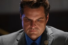 WASHINGTON, DC - JUNE 17:  Representative Matt Gaetz, a Republican from Florida, listens during a ma...