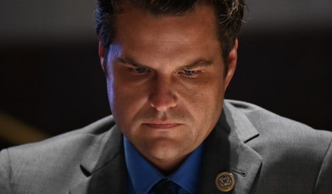 """WASHINGTON, DC - JUNE 17:  Representative Matt Gaetz, a Republican from Florida, listens during a markup on H.R. 7120, the """"Justice in Policing Act of 2020,""""  on June 17, 2020, in Washington, D.C. The House bill would make it easier to prosecute and sue officers and would ban federal officers from using choke holds, bar racial profiling, end """"no-knock"""" search warrants in drug cases, create a national registry for police violations, and require local police departments that get federal funds to conduct bias training.  (Photo by Erin Scott-Pool via Getty Images)"""