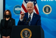 WASHINGTON, DC  March 29, 2021:  President Joe Biden and Vice President Kamala Harris during remarks...