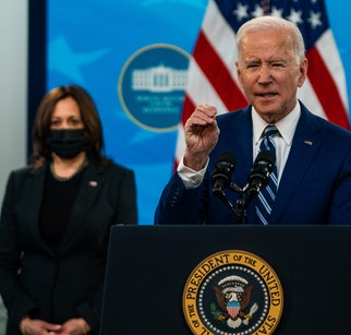 WASHINGTON, DC  March 29, 2021:  President Joe Biden and Vice President Kamala Harris during remarks on COVID-19 response and vaccinations at South Court Auditorium in the Eisenhower Executive Office Building on March 29, 2021.  (Photo by Demetrius Freeman/The Washington Post via Getty Images)
