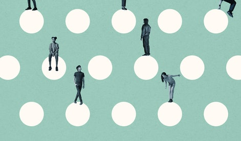 Young multi-ethnic male and female friends on white circles against turquoise background
