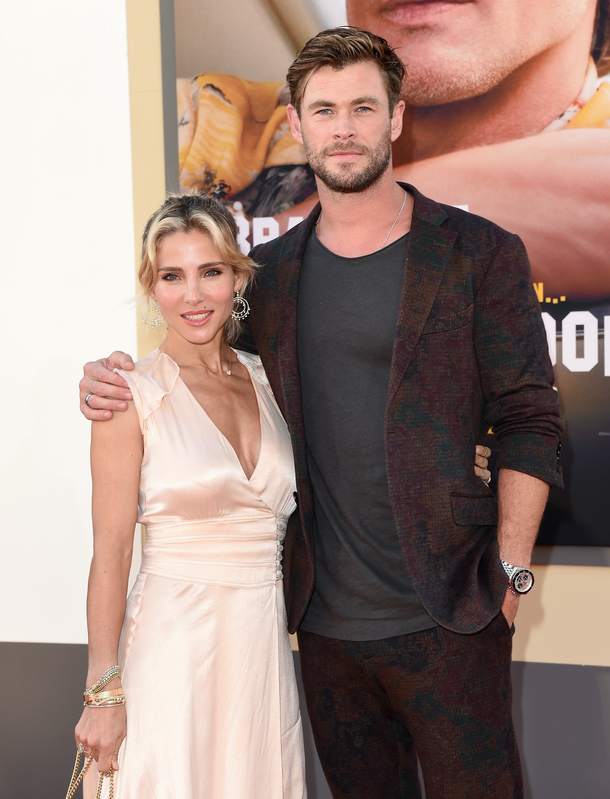 """HOLLYWOOD, CALIFORNIA - JULY 22: Elsa Pataky and Chris Hemsworth attend Sony Pictures' """"Once Upon a ..."""