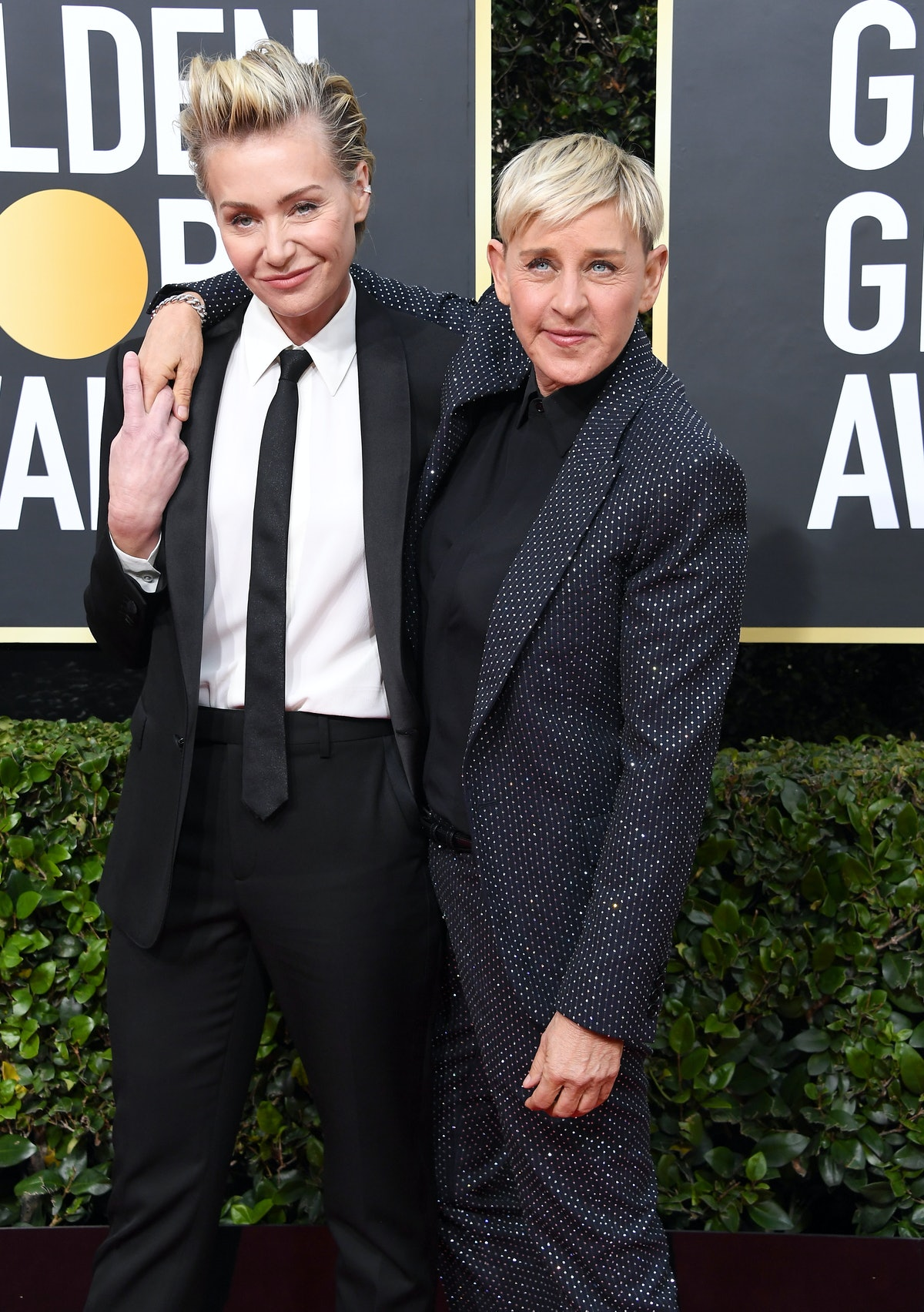 BEVERLY HILLS, CALIFORNIA - JANUARY 05: Portia de Rossi and Ellen DeGeneres  arrives at the 77th Ann...