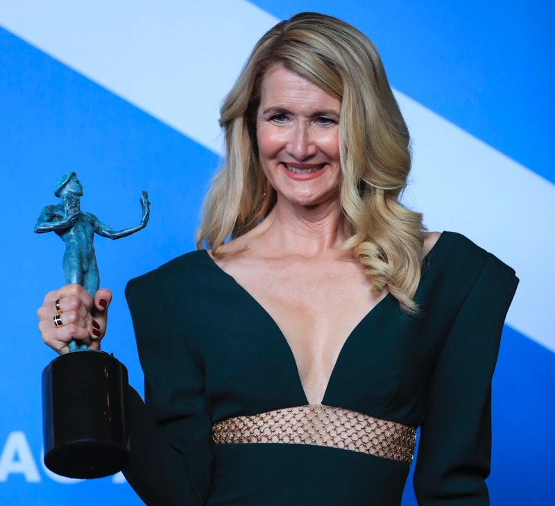 """LOS ANGELES, Jan. 20, 2020 -- Laura Dern poses for a photo with the award for Outstanding Performance by a Female Actor in a Supporting Role in """"Marriage Story"""" at the 26th Annual Screen Actors Guild Awards held at the Shrine Auditorium in Los Angeles, the United States, Jan. 19, 2020. (Photo by Li Ying/Xinhua via Getty Images)"""