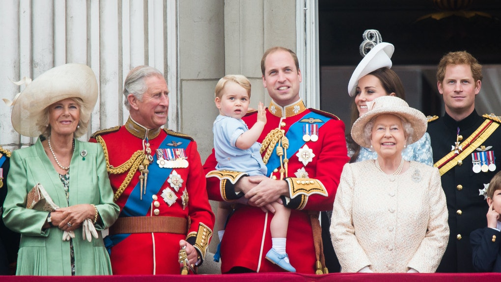 The royal family poses for a photo.