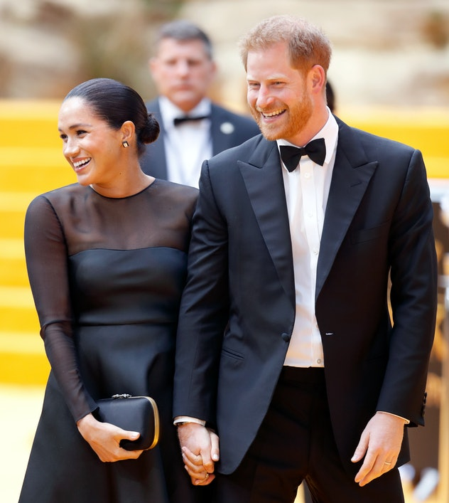 Meghan Markle and Prince Harry attend the 'Lion King' premiere.