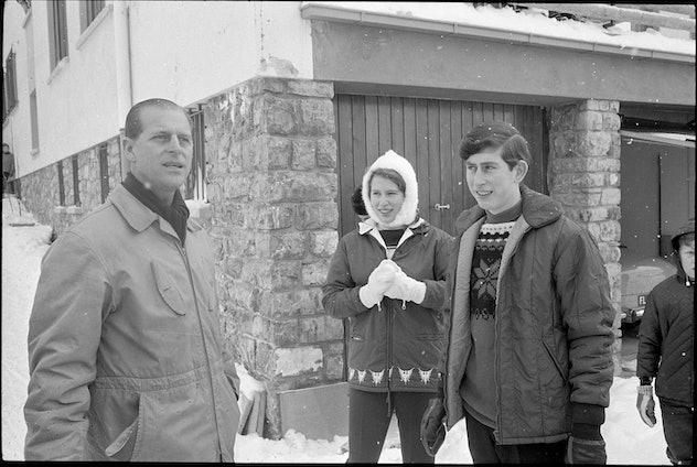 Prince Charles on a ski trip with Prince Charles and Princess Anne, 1965.