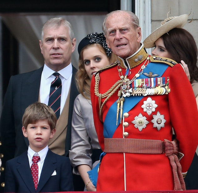 Prince Philip with his youngest grandchild James, Viscout Severn, in 2015.