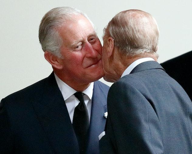 Prince Charles kisses Prince Philip, 2017.