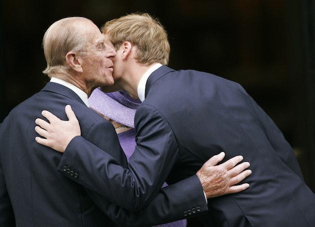 Prince William kisses his grandfather, 2007.