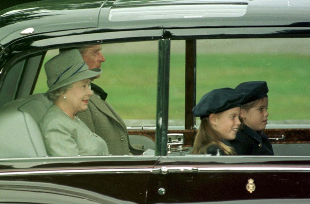 Prince Philip in the car with Princesses Eugenie and Beatrice.