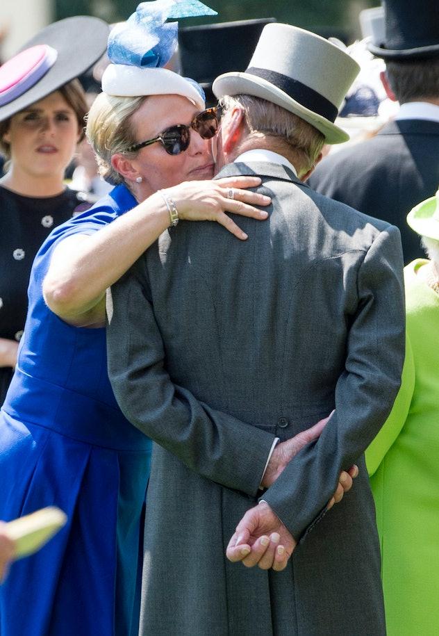 Zara Tindall kisses her grandfather, 2017.