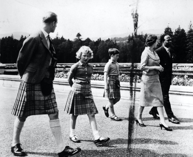 Prince Philip walking with Princess Anne, 1959.