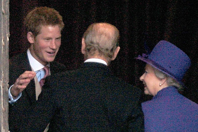 Prince Harry hugs Prince Philip, 2004.