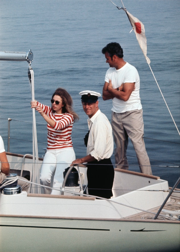 Prince Philip sailing with Princess Anne 1970.