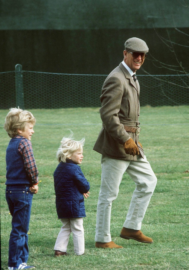 Prince Philip with Peter and Zara Phillips.