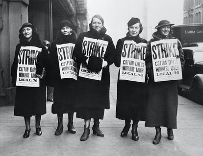 Female garment workers on strike inspired Women's History Month.