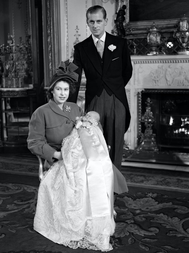 Prince Philip with Prince Charles, 1948.