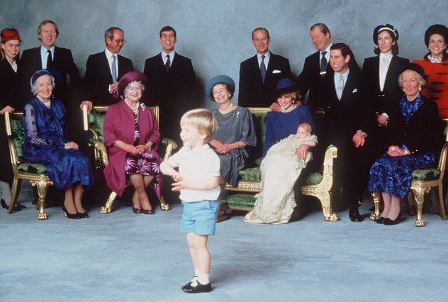 Prince Philip watches Prince William, 1984.