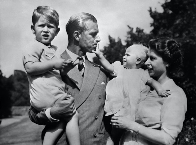 Prince Philip with his wife and children, 1950.
