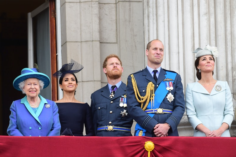 Queen Elizabeth, Meghan Markle, Prince Harry, Prince William, and Kate Middleton at a royal event in 2018. Photo via Getty