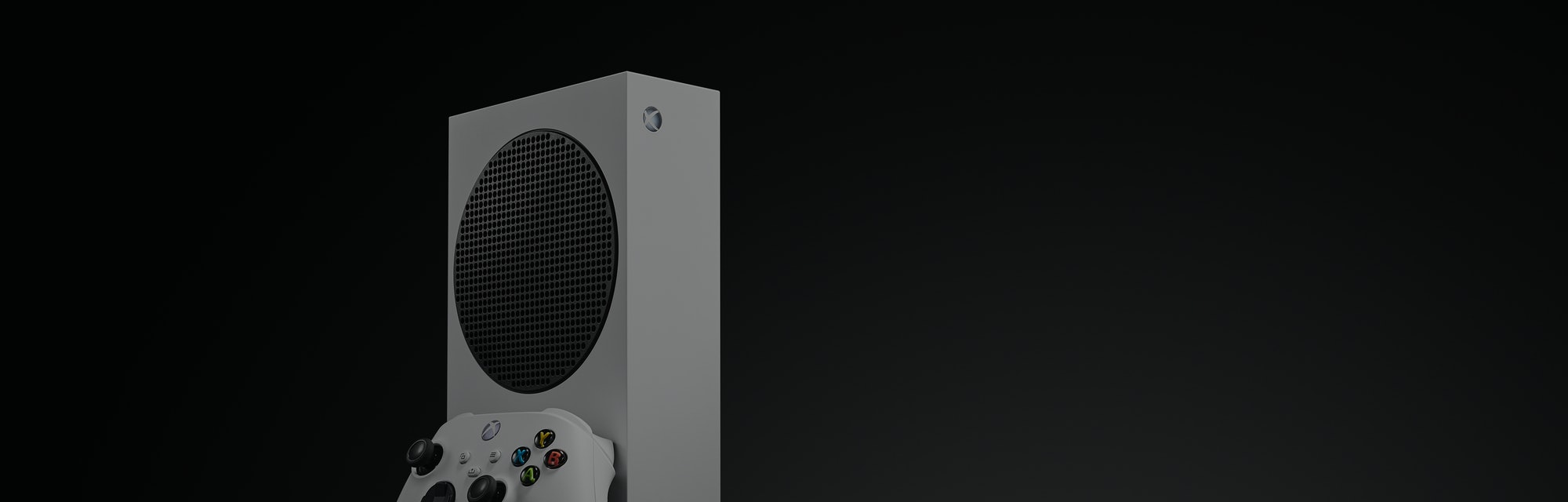 Microsoft's Xbox Series S pictured on a black background.