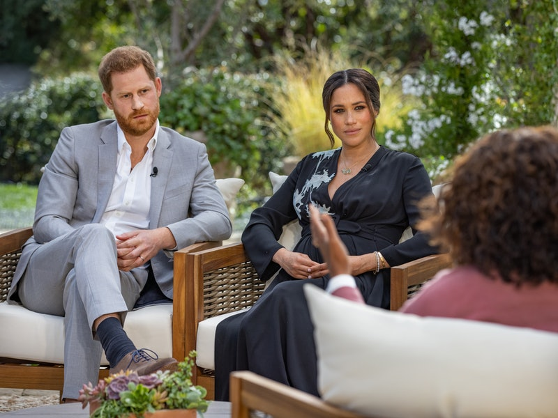 Meghan and Harry's Oprah interview. Photo via Getty