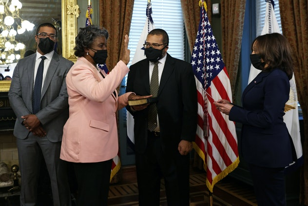 Linda Thomas-Greenfield is sworn in as the U.S. Representative to the United Nations by Vice Preside...