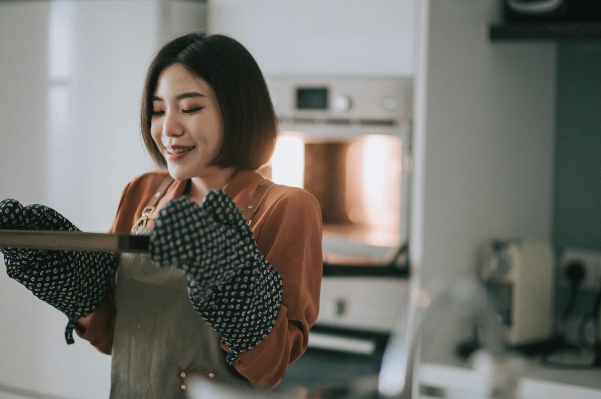 Woman baking brownies from TikTok