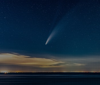 Rocket flying above the atmosphere.
