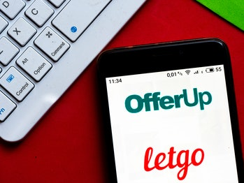 A phone with the OfferUp and LetGo logos