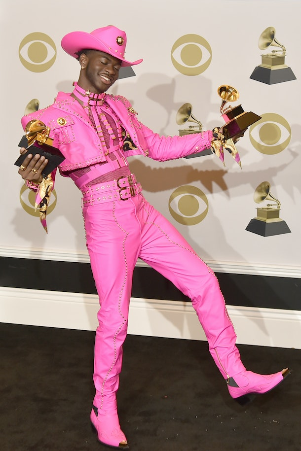 LOS ANGELES, CALIFORNIA - JANUARY 26: Lil Nas X attends the 62nd Annual Grammy Awards - Press Room at Staples Center on January 26, 2020 in Los Angeles, California. (Photo by David Crotty/Patrick McMullan via Getty Images)