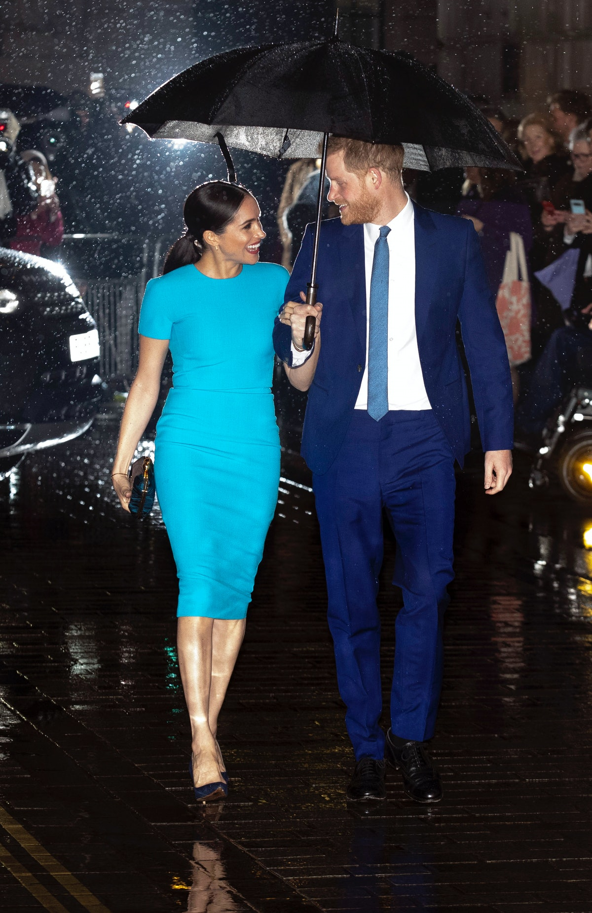 The Duke and Duchess of Sussex arrive at Mansion House in London to attend the Endeavour Fund Awards. (Photo by Steve Parsons/PA Images via Getty Images)