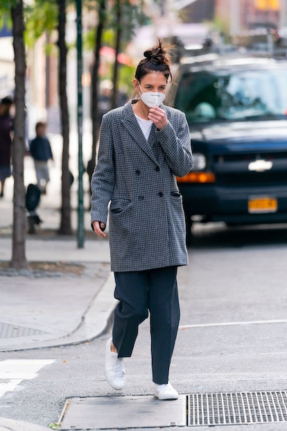 Katie Holmes is seen in SoHo on October 19, 2020 in New York City.