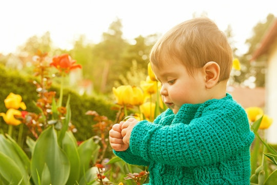 Little baby girl playing with flowers in the garden (yellow tulips)
