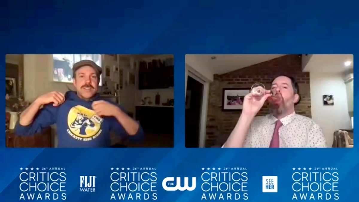 UNSPECIFIED LOCATION – MARCH 7: (L-R) In this screengrab, Jason Sudeikis and Brendan Hunt, winners o...