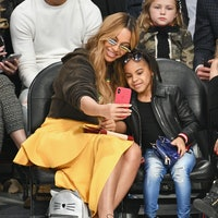 Beyonce and Blue Ivy Carter attend the NBA All-Star Game 2018 at Staples Center on February 18, 2018...
