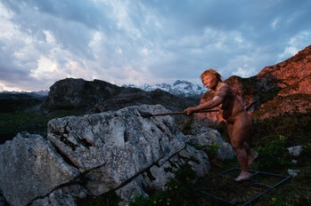 The Neanderthal woman was re-created built by Andrie and Alfons Kennis. They used replicas of a pelvis and cranial anatomy from Neanderthal females for authenticity. The use of a spear by this Neanderthal female replica suggests that females may have also hunted as their male counterparts did.  (Photo by Joe McNally/Getty Images)