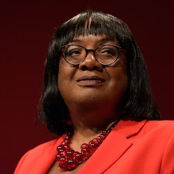 BRIGHTON, ENGLAND - SEPTEMBER 22: Shadow Home Secretary Diane Abbott addresses delegates in the main hall of the Brighton Centre on the second day of the Labour Party conference on September 22, 2019 in Brighton, England. Labour return to Brighton for the 2019 conference against a backdrop of political turmoil over Brexit. (Photo by Leon Neal/Getty Images)