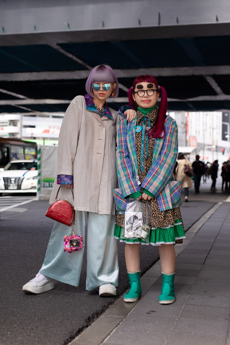TOKYO, JAPAN - MARCH 20: Guests are seen on the street during the Rakuten Fashion Week Tokyo 2021 autumn/winter on March 20, 2021 in Tokyo, Japan. (Photo by Matthew Sperzel/Getty Images)